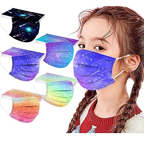 Xmansky 50 Mascarillas Niños, 4-12 Años, 3 Capas,2021 Nuevo Mascarillas Infantiles Dibujos para Actividades al Aire Libre.