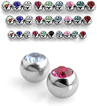 TheMaddHatter 6pc Pack Threaded 316L Surgical Steel Balls with CZ Gem (14g, 3mm, Iridescent CZ)