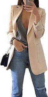 WanYangg Donne Blazer Maniche Lunghe,Cappotto Elegante Ufficio Business Blazer Top con Maniche a 3/4,Giacca a Spalla OL Gi...