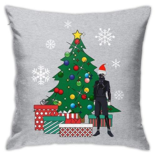 WH-CLA Fundas De Almohada De Tiro Ken Kaneki Around The Christmas Tree Anime Durable Acogedor Sofá Fiesta 45 X 45 Cm Dormitorio Cremallera Cama Funda De Almohada Fundas De Almohada Hogar