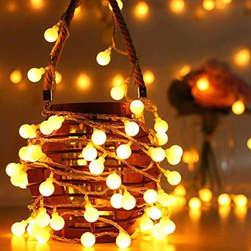 Ulmisfee Guirlande Lumineuses Extérieur 10M Guirlande Guinguette Raccordable avec 80 Ampoules Etanche Blanc Chaud 8 Modes avec télécommande Jardin Décoration pour Fête/Noël/Mariage