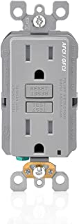 Leviton AGTR1-GY SmartlockPro Dual Function AFCI/GFCI Receptacle, 15 Amp/125V, Gray