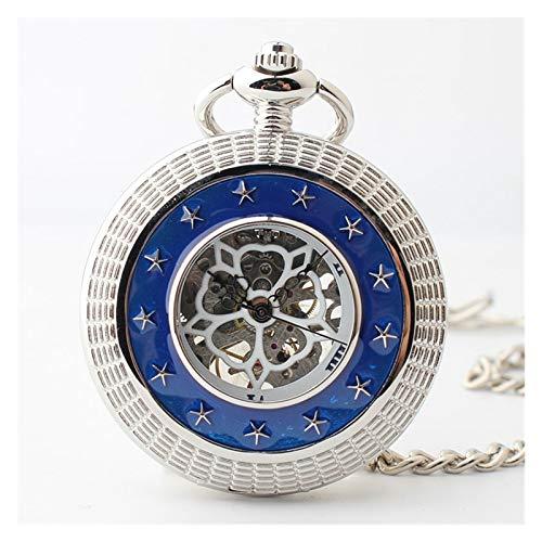 HFQJTU Personalizado Tallado Diseño Mano Viento Mecánico Pocket Reloj Retro Estilo Reloj de Bolsillo con Cadena, Regalo para cumpleaños Anniversary Day Navidad Padres Padres Hombres (Color : Silver)