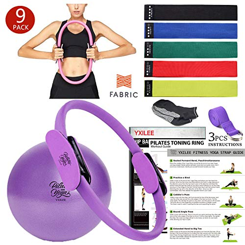 YXILEE 12' Pilates Ring Set,9 piece Yoga Fitness Circle, 5 Fabric Resistance Loop Exercise Band set, Pilates Ball,Stretch Strap, Non Slip Socks,Workout Guide book, Recovery Therapy tools, Home Workout
