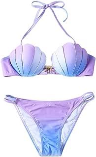 Womens Gradient Color Seashell Top Bikini Set Push Up Padded Swimsuit