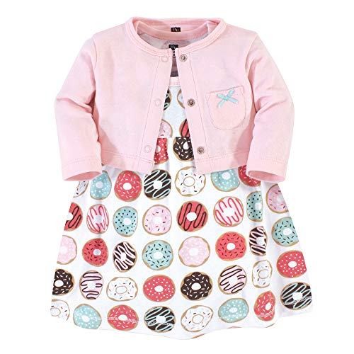 Hudson Baby Baby Girls' Cotton Dress and Cardigan Set Casual, Donuts, 3 Years