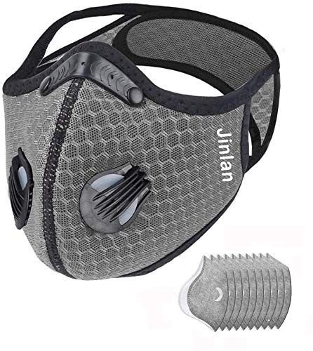 Jinlan 1with Filter,Sports Face, 10Filters Included,Men's and Women's Universal,Suitable for Woodworking, Outdoor Activities(Gray)