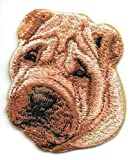 Brown Chinese Shar Pei Dog Breed Portrait Embroidery Patch Embroidered Applique