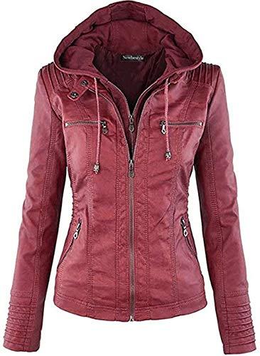Newbestyle Jacke Damen Lederjacke Frauen mit Zip V Ausschnitt Kunstleder Bikerjacke Jacket Casual Übergangsjacke (Normale EU-Größe), Weinrot, XL/44
