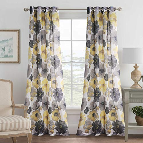 H.VERSAILTEX Linen Blended Grommet Semi-Sheer Curtains - 2 Pieces- Decorative Vintage Blooming Floral with Yellow Gray Pattern for Living Room, Privacy Assured (W52 x L84 inch)