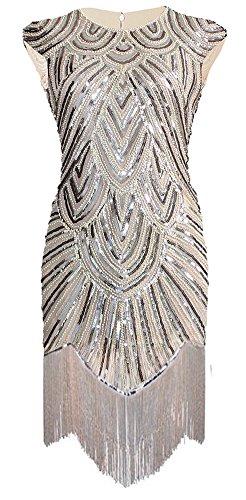 Izacu flocc Damenkleid im Flapper-Stil der 1920er-Jahre, Art Deco, mit Pailletten, Paisleymuster, Quasten Gr. 42, 143beige