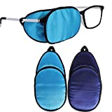eZAKKA Eye Patches for Adults Kids Eye Patch for Glasses Silk Patch for Lazy Eye Amblyopia Strabismus and After Surgery (Light Blue + Deep Blue)