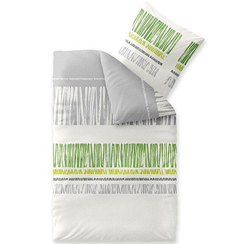 CelinaTex Enjoy Bettwäsche 135 x 200 cm 2teilig Baumwolle Bettbezug Seersucker Alma Streifen Weiß Grau Grün