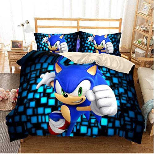 Hanyyj Funda Nórdica Sonic The Hedgehog Anime Juego De Cama Personaje De Dibujos Animados 3D Traje De Tres Piezas 135X200Cm