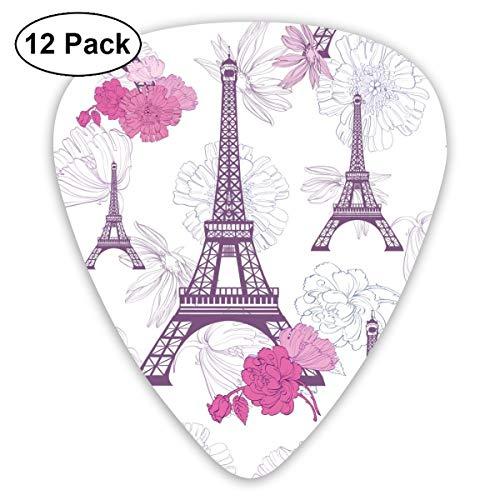Gitarrenplektrum, Violett, Pink, Motiv: Eifelturm, Paris und Rosen, 12-teiliges Set aus umweltfreundlichem ABS-Material, geeignet für Gitarren, Quads, etc.