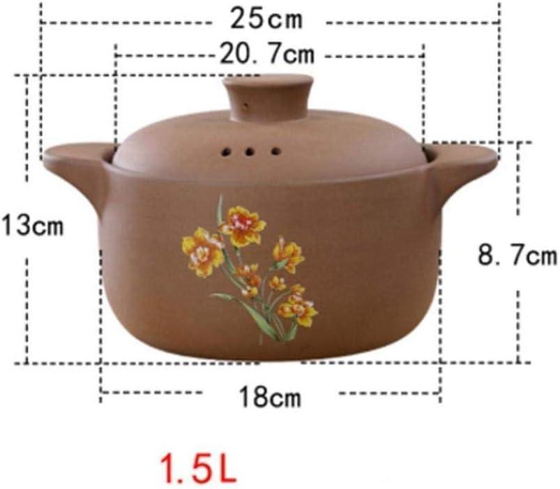 LIUSHI Pot en Terre Cuite Pot en Terre Cuite Casserole en céramique Pot en Terre Cuite - Chauffage Rapide Haute efficacité et économie d'énergie capacité Durable 1,5 l à 1,5 l 1.5l