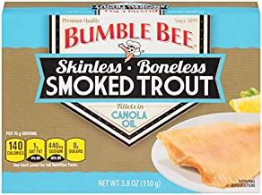 BUMBLE BEE Skinless and Boneless Smoked Trout Fillets in Canola Oil, High Protein Food,..
