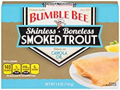 BUMBLE BEE TROUT FILLETS: Our skinless and boneless trout fillets packed in oil are flavorful and convenient. They are great to serve as a spread, on a salad, or with pasta QUALITY IN EVERY CAN: This case of 12, 3.8-ounce cans of premium BUMBLE BEE S...