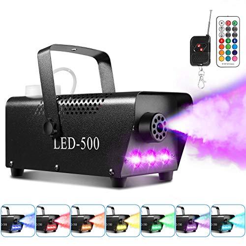 Máquina de humo AGPtEK con 13 luces LED de colores y efecto RGB, 500 W y 2000 CFM con 2 mandos a distancia con cable y mando a distancia, perfecta para bodas, Halloween y espectáculos de escenarios