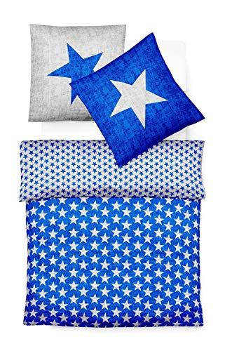 fleuresse Biber Bettwäsche Sterne blau 1 Bettbezug 135x200 cm + 1 Kissenbezug 80x80 cm