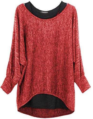 Emma & Giovanni - Damen Oversize Oberteile Tshirt/Pullover (2 Stück) / Made In Italy, M-L, Rot