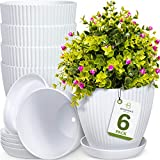 Botanica\s Best 6 inch Plant Pots for Plants - Set of 6 White Modern Indoor and Outdoor Plastic Planter Flower Pot for Office Decor and Patio Garden - Planters Include Drainage Hole and Saucer Tray