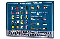 カレンダー Perpetual Calendar Adventurer Nautical flags alphabet Tin Metal Magnetic