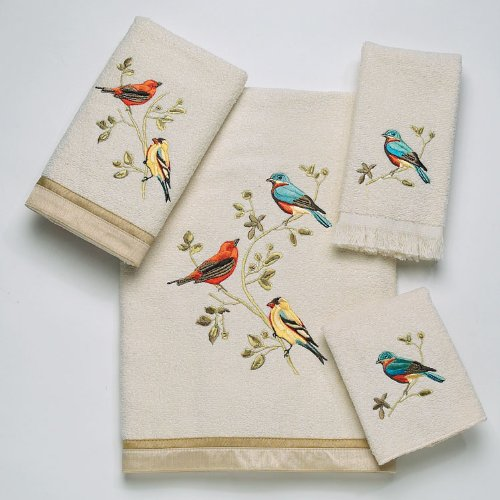 Avanti Linens Gilded Birds Embroidered 4-Piece Decorative Towel Set Ivory