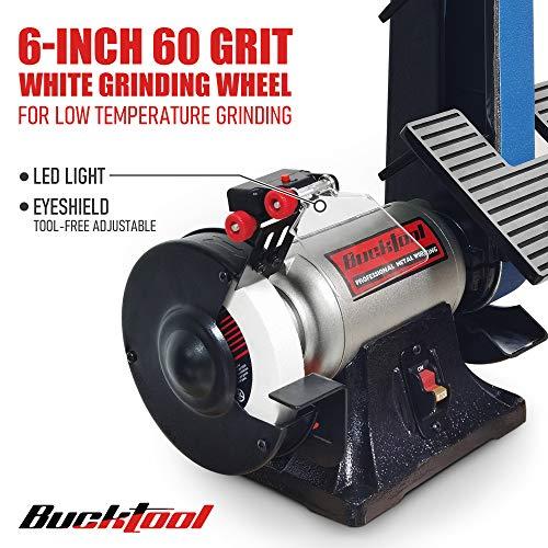 """Bucktool Combo 2"""" x 42"""" Belt Sander 6"""" Bench Grinder, Knife Sharpener with Large Work Table BG2600 Upgraded Model"""