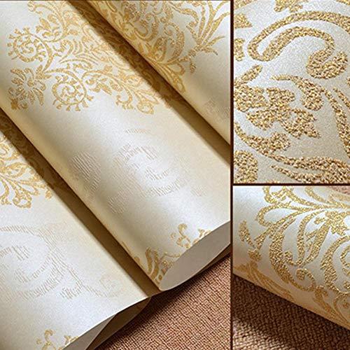 3D Vliestapete Flock Tapete Wellen Beflockte Tapeten Rollen Moderne Minimalistische Hochwertige Wandtapete Dekoration für Wohnzimmer, Schlafzimmer, 53cmX1000 cm