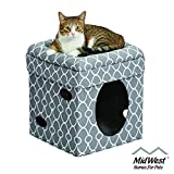 Cat Cube Cozy Cat House / Cat Condo in Fashionable Gray Geo Print 15.5L x 15.5W x 16.5H...