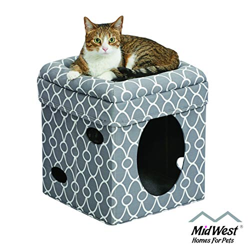Cat Cube Cozy Cat House / Cat Condo in Fashionable Gray Geo Print 15.5L x 15.5W x 16.5H Inches
