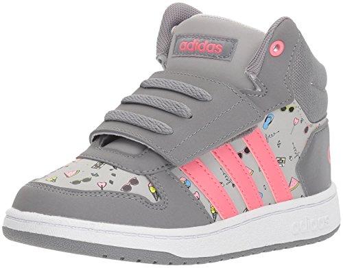 adidas Kids' Hoops Mid 2.0, Grey Three/Chalk Pink/Grey Two, 8.5 M US Toddler