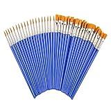 Flat Paint Brushes Set,50 Pcs Art Paintbrushes for Kids/ Artists/Painters/Beginners/Students ,Short...
