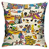 FZDB Pillow Cover The Beatles Artsy Colorful Pillow Case Square Cushion Cover for Sofa Couch Home Car Bedroom Living Room Decor 18' X 18'