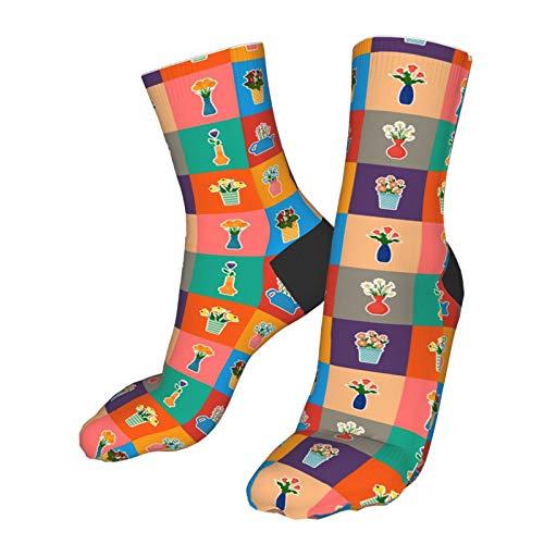 gjhj Socken mit Blumen in Töpfen und Vasen, für kaltes Wetter, weich, warm, dick, gestrickt, gemütlich, für den Winter, legere Socken für Damen und Herren
