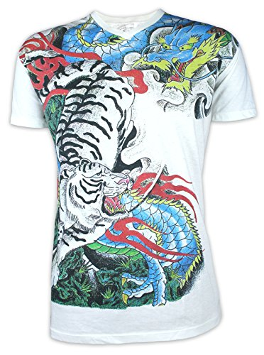 Ako Roshi Herren T-Shirt Tora to Ryu - Tiger & Drache Kampfsport Tattoo Japan (Weiss XL)