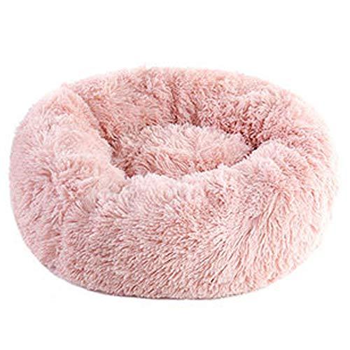 cjb huisdier, bed, kalmerend, pluche, nest, type warmte, zacht en comfortabel wasbaar, antislip vloer, waterdicht, verbeterde slaap, ronde donut-kattennest, zacht bed roze