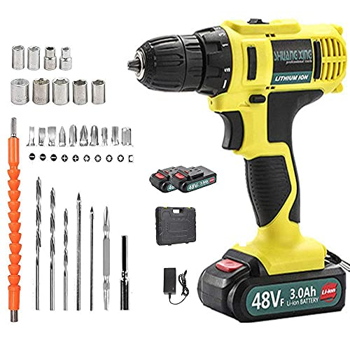 N Z Home Equipment Cordless Impact Drill Set-Electric Screwdrivers Cordless 21V with LED Light(2 Rechargeable Battery 22Nm 18 + 1 Torque Levels)