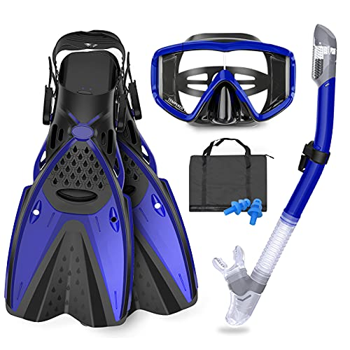 GoOsprey Mask Fins Snorkeling Gear for Adults Men Women, Swim Goggles 180° Panoramic View Diving Mask Anti-Fog Anti-Leak&Dry Top Snorkel and Dive Flippers with Gear Bag for Snorkeling Swimming
