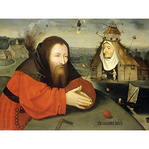Jheronimus Bosch Temptation of St Anthony Painting Large Wall Art Poster Print Thick Paper 18X24 Inch Gemälde Wand Poster drucken