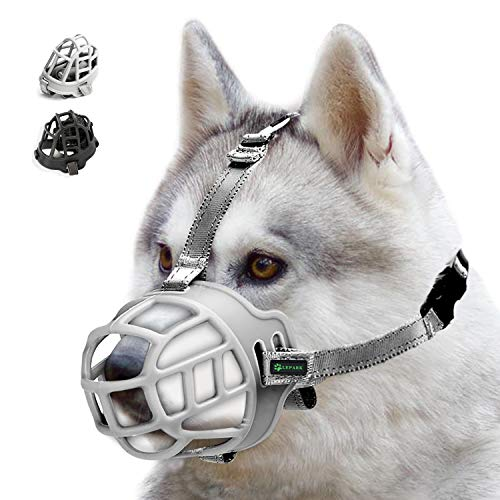 ILEPARK Korbmaulkorb für Hunde, Silikon-Korb Hund Maulkörbe, Atmungsaktiver Rundum-Abdeckung des Und Verstellbare Träger, Verhindert Bellen, Beißen und Kauen. (Größe 2,Grau)