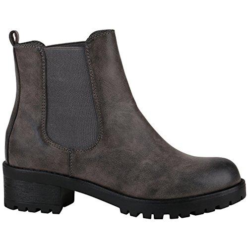 Damen Chelsea Boots Blockabsatz Plateau Stiefeletten Leder-Optik Schuhe 144275 Grau Glatt 41 Flandell