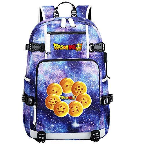 ZZGOO-LL Dragon Ball Son Goku/Vegeta IV/Torankusu Anime Backpacks Student School Bag Laptop Backpack with USB Charging Port-C