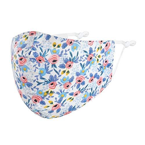 Null Karat Mund-Nasen-Maske Stoffmaske Behelfsmaske Blumen Blümchen blau 100% Baumwolle