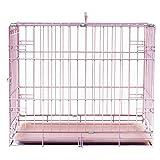 LEMKA ペットケージ77x48x54cm 折り畳み式 トレイ付き 树脂溶射 ワイヤーケージ キャット 中小型犬用 ドッグ ハウス 休憩所 持ち手付き 移動便利(76x48x55 cm, ピンク)
