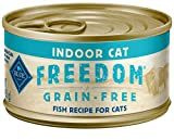 Blue Buffalo Freedom Grain Free Natural Adult Pate Wet Cat Food, Indoor Fish 3-oz cans (Pack of 24)