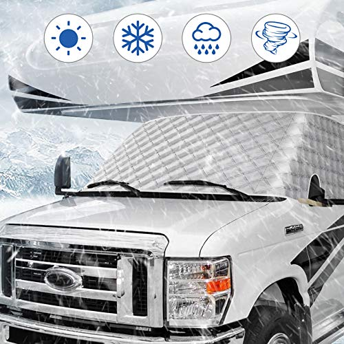BougeRV RV Windshield Window Snow Cover for Class C Ford 1997-2021 Motorhome Windshield Cover Snow Cover for RV Front Window Sunshade Cover RV Accessories 4 Layers with Mirror Cutouts Silver