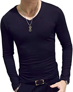 Tammy Yerkes Mens Slim Fit T-Shirts Long Sleeve Tops Pullover V-Neck Blouse Casual Pure Color Fashion New Minimalist Male ...