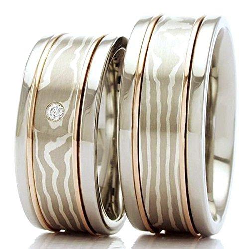 Mokume Gane Eheringe Edelstahl 585 Gold 925 Silber - Der angegebene Preis bezieht sich auf das Paar Trauringe.